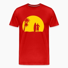 surfer palms sun surfboard surfing sundown sunset swim beach T-Shirts