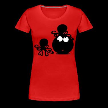 Funny face & octopus Women's Plus Size Basic T-Shirt