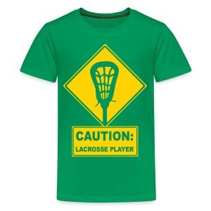 'CAUTION: Lacrosse Player' Kid's T-Shirt - Kids' Premium T-Shirt
