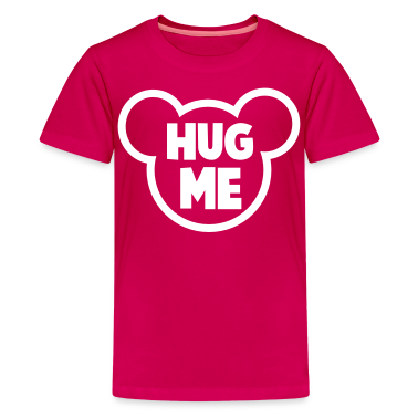 HUG ME romance teddy bear outline shape Kids' Shirts