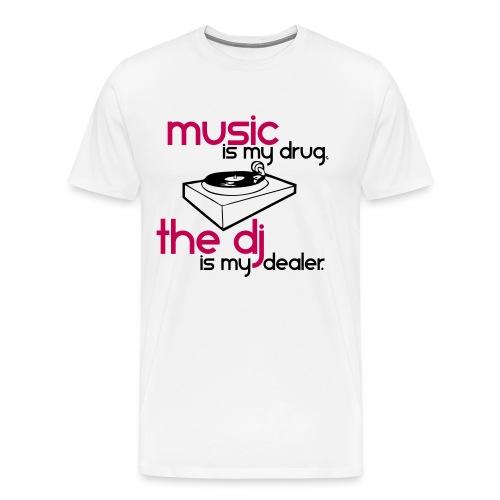 Men's Music Is My Drug (DJ Vesper White/Pink T) - Men's Premium T-Shirt