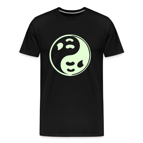 Black Ghost Ying Yang Shirt with Glow In Dark Prints - Men's Premium T-Shirt
