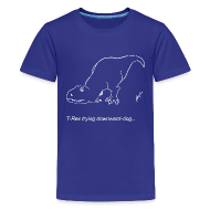 Kids' Shirts ~ Kids' Premium T-Shirt ~ T-Rex Down Dog White Design (Kids)