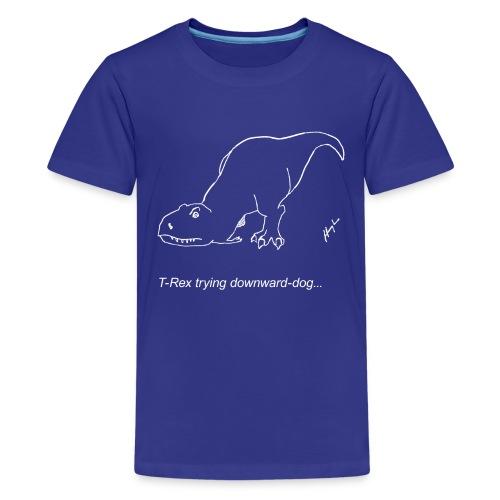 T-Rex Down Dog White Design (Kids) - Kids' Premium T-Shirt