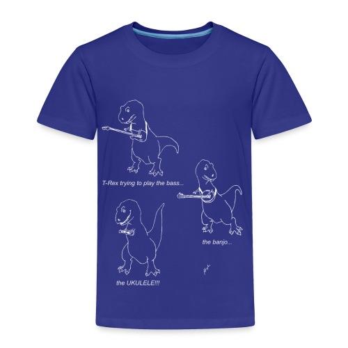 T-Rex Ukulele White Design (Toddler) - Toddler Premium T-Shirt