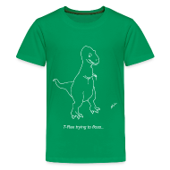 Kids' Shirts ~ Kids' Premium T-Shirt ~ T-Rex Flossing White Design (Kids)