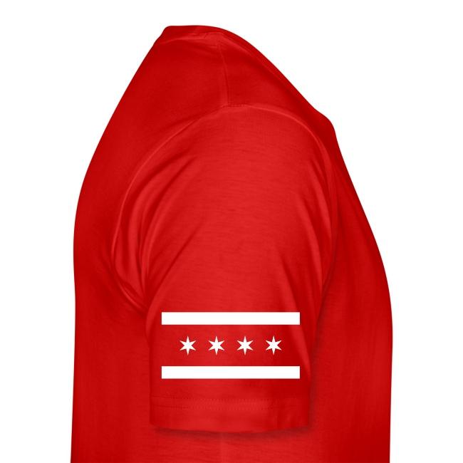 Rollins 75 T-shirt - Established 2002, name/number, Chicago flag, USA flag