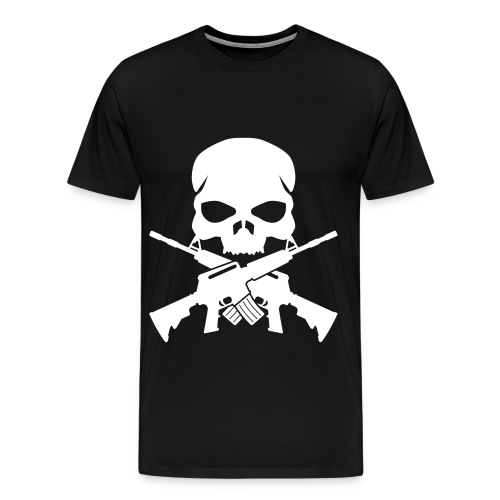 SKULL AND M-16 CROSS - Men's Premium T-Shirt