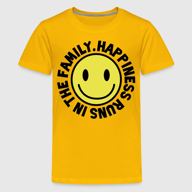 HAPPINESS runs in the FAMILY smiley Kids' Shirts - Kids' Premium T-Shirt