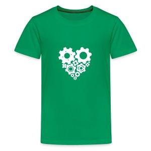 White Gear Heart - Pick your own shirt color! - Kids' Premium T-Shirt