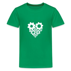 White Gear Heart - Pick your own shirt color! - Kids' Premium T-Shirt
