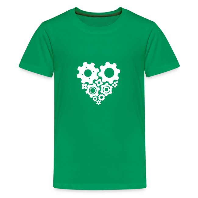White Gear Heart - Pick your own shirt color!