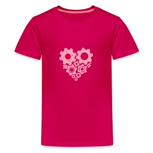 Pink Gear Heart - Pick your own shirt color! - Kids' Premium T-Shirt