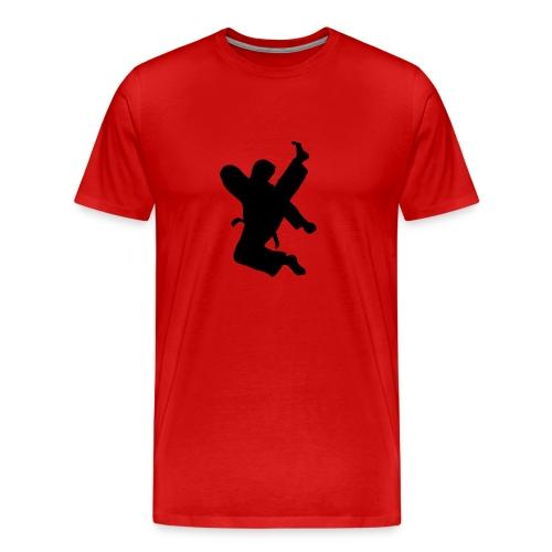 Taekwondo High Kick on red -dbl sided - Men's Premium T-Shirt