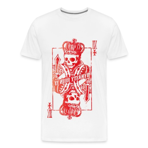 Skull Playing Card [RED] (Men's) - Men's Premium T-Shirt