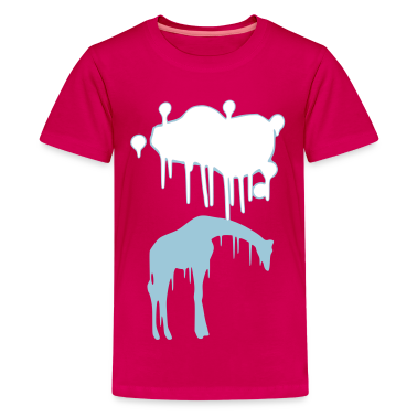 Giraffe Graphic Design Picture Vector - Cool Pink and Blue Animal Graffiti Giraffe Getting Rained on By a Paint Splatter Cloud! Emo, sad, funny, joke, cute Great for Ipad cases, iphone cases, hoodies, tshirts, tank tops, etc! Kids' Shirts