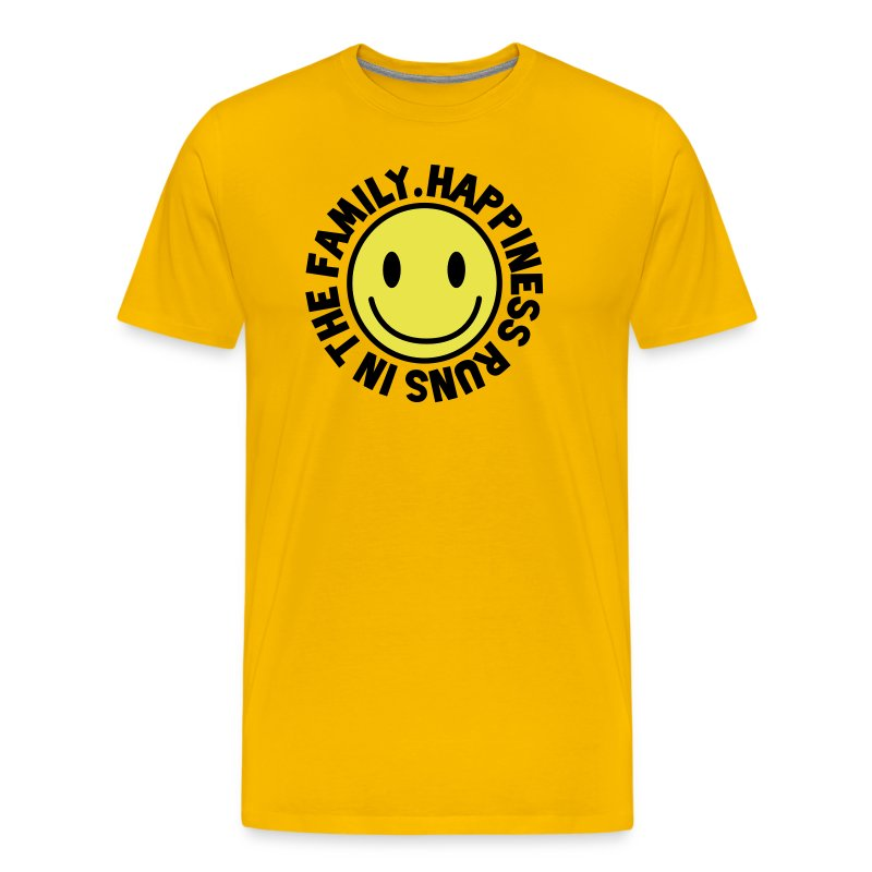 happiness runs in the family smiley t shirts men 39 s premium t shirt. Black Bedroom Furniture Sets. Home Design Ideas