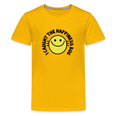 I CAUGHT THE HAPPINESS bug! with cute buggy smiley! Kids' Shirts