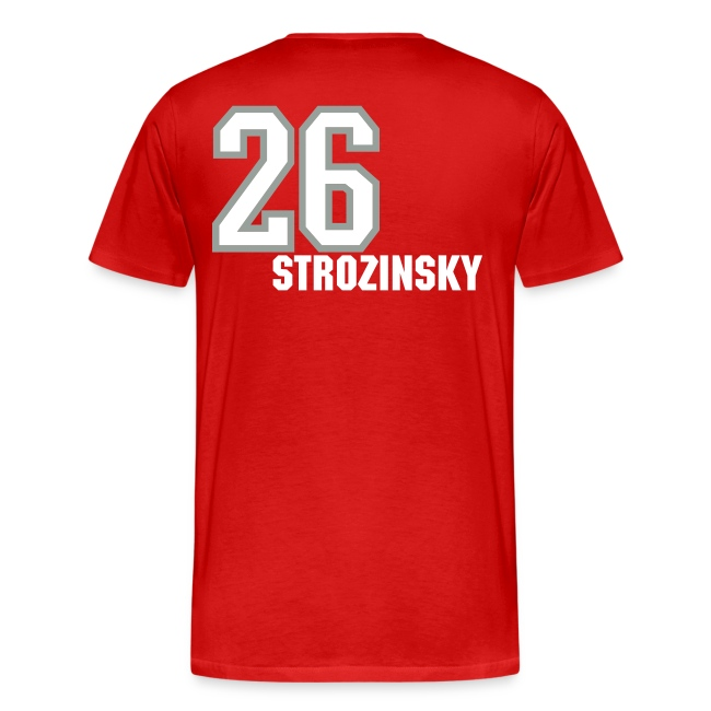 Strozinsky 26 T-shirt - Established 2002, name/number, Chicago flag, USA flag
