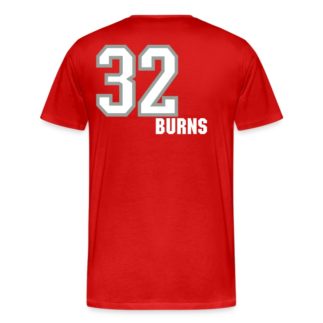 Burns 32 T-shirt - Established 2002, name/number, Chicago flag, USA flag