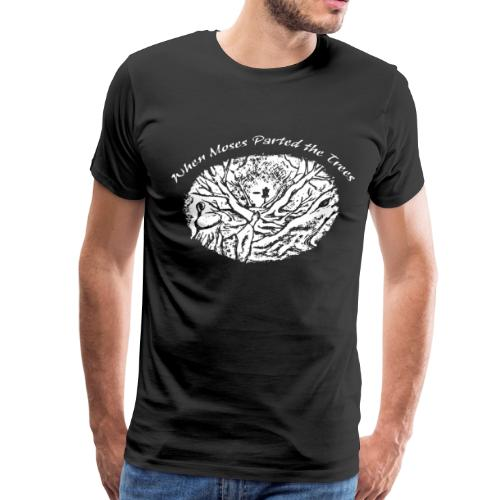 Moses Parted the Trees - Disc Golf Shirt - White on Dark Tees - Men's Premium T-Shirt