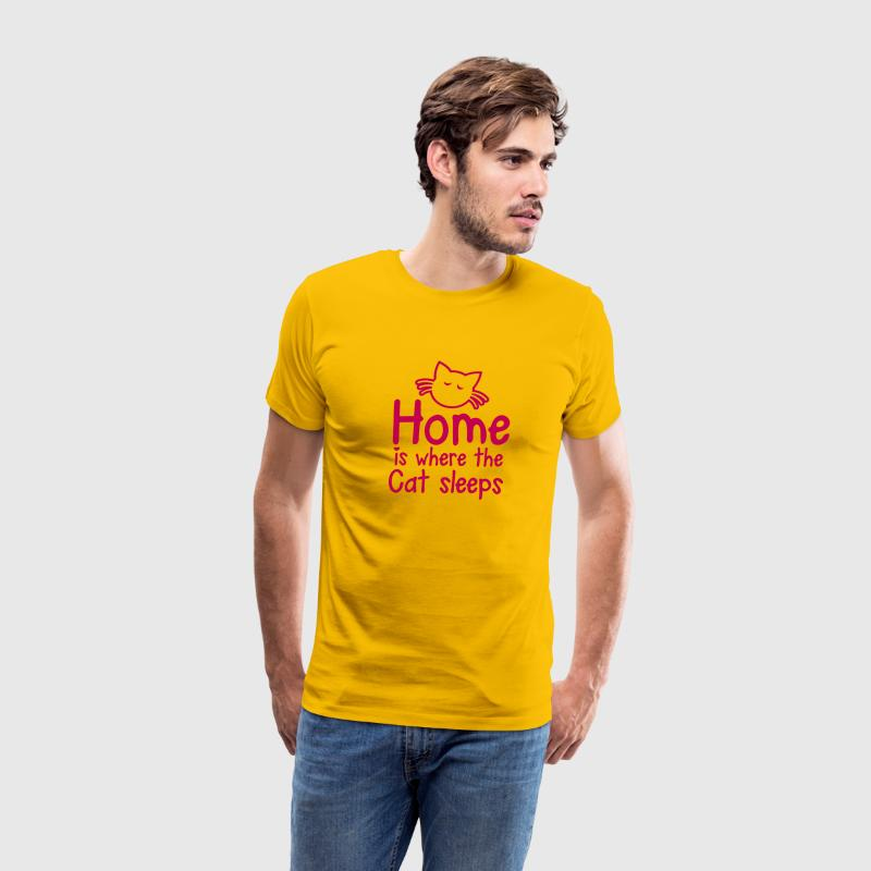 HOME is where the CAT SLEEPS cute little cat design T-Shirts - Men's Premium T-Shirt