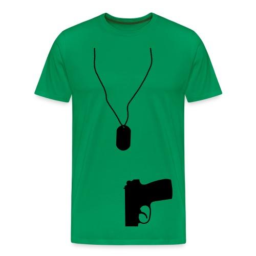 Dog Tag and Gun - Men's Premium T-Shirt