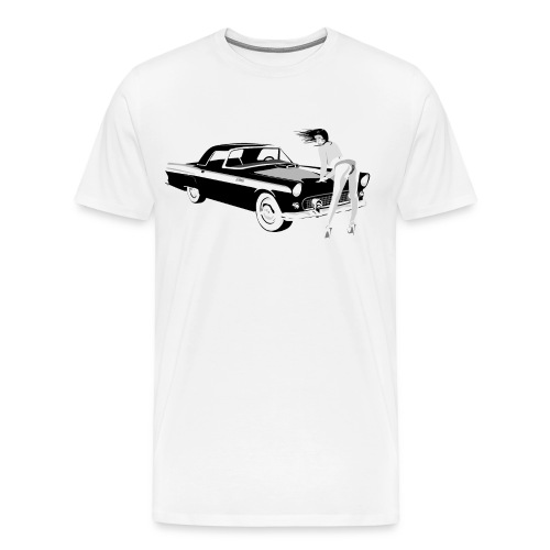 Sexy Girl on 1955 Thunderbird! - Men's Premium T-Shirt