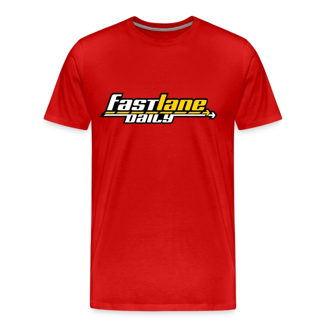 Fast Lane Daily logo in three colors on a Heavyweight T