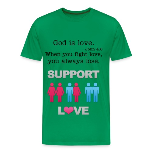 Men's Premium T-Shirt - support love,love,lgbt,lesbian,god,gay,equality,christian,ally