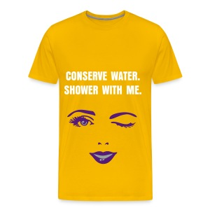 CONSERVE WATER - WHITE FLEX/ANZEIGEN FONT/PURPLE WOMAN'S WINK FACE - Men's Premium T-Shirt