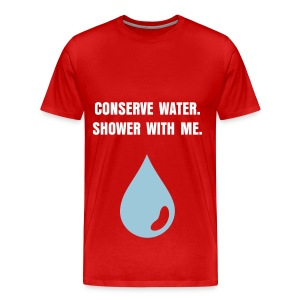 CONSERVE WATER - WHITE FLEX/ANZEIGEN FONT/POWDER BLUE WATER DROP - Men's Premium T-Shirt
