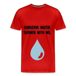 CONSERVE WATER - BLACK FLEX/ANZEIGEN FONT/POWDER BLUE WATER DROP - Men's Premium T-Shirt