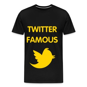TWITTER FAMOUS - GOLD FLEX/VAG ROUNDED FONT/GOLD BIRD - Men's Premium T-Shirt