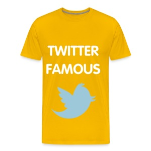 TWITTER FAMOUS - WHITE FLEX/VAG ROUNDED FONT/POWDER BLUE BIRD - Men's Premium T-Shirt