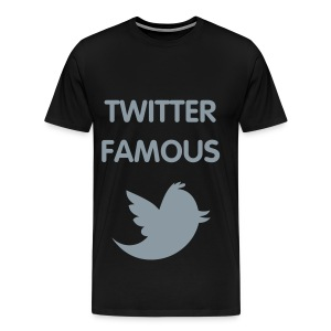 TWITTER FAMOUS - METALLIC SILVER FLEX/VAG ROUNDED FONT/METALLIC SILVER BIRD - Men's Premium T-Shirt