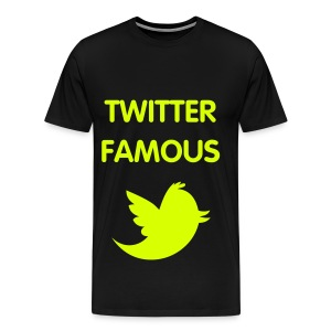 TWITTER FAMOUS - NEON YELLOW SPECIALTY FLEX/VAG ROUNDED FONT/NEON YELLOW BIRD - Men's Premium T-Shirt