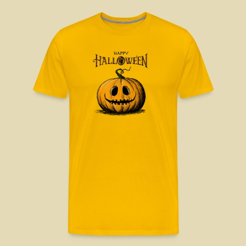 Happy Halloween Jack O'Lantern Adult Orange Tshirt - Men's Premium T-Shirt