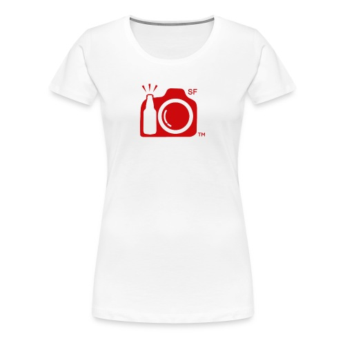 Women's Classic T-Shirt LARGE logo RED with SF initials   - Women's Premium T-Shirt