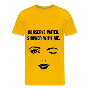 CONSERVE WATER - BLACK FLEX/ANZEIGEN FONT/BLACK WOMAN'S WINK FACE - Men's Premium T-Shirt