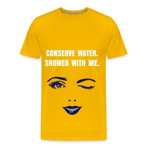 CONSERVE WATER - WHITE FLEX/ANZEIGEN FONT/NAVY WOMAN'S WINK FACE - Men's Premium T-Shirt