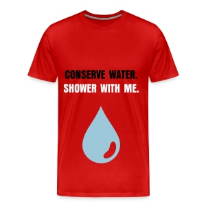 CONSERVE WATER - BLACK AND WHITE FLEX/ANZEIGEN FONT/POWDER BLUE WATER DROP - Men's Premium T-Shirt