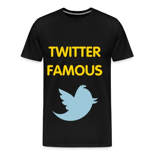 TWITTER FAMOUS - GOLD FLEX/VAG ROUNDED FONT/POWDER BLUE BIRD - Men's Premium T-Shirt