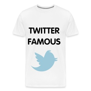 TWITTER FAMOUS - BLACK FLEX/VAG ROUNDED FONT/POWDER BLUE BIRD - Men's Premium T-Shirt
