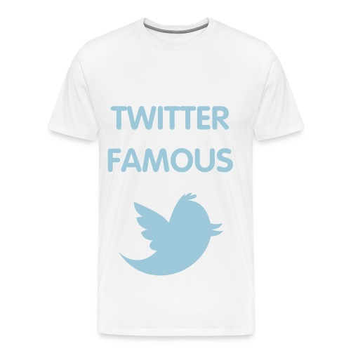 TWITTER FAMOUS - POWDER BLUE FLEX/VAG ROUNDED FONT/POWDER BLUE BIRD - Men's Premium T-Shirt