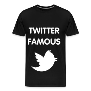 TWITTER FAMOUS - WHITE FLEX/VAG ROUNDED FONT/WHITE BIRD - Men's Premium T-Shirt