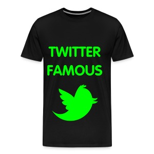 TWITTER FAMOUS - NEON GREEN SPECIALTY FLEX/VAG ROUNDED FONT/NEON GREEN BIRD - Men's Premium T-Shirt