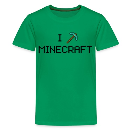Minecraft: I Love Minecraft (Diamond Pickaxe) - Creeper Creative Survival Hungry Cool Diamond Sword PickAxe Food Mining Design Fun Nerd Geek Gaming Party Swag Dope Fresh Man Men Woman Women T-Shirt T Shirt TShirt  - Kids' Premium T-Shirt