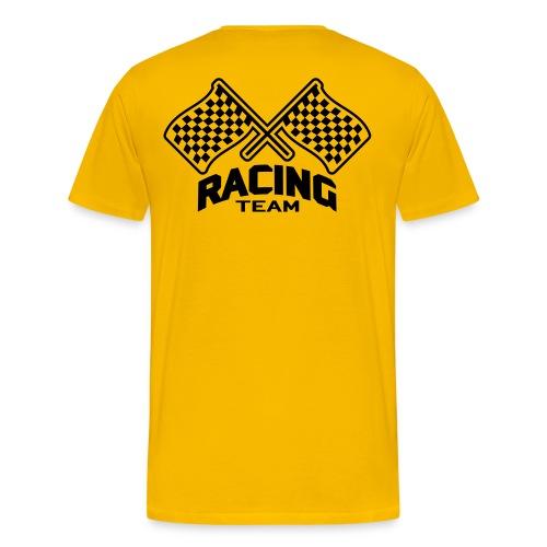 Men's Premium T-Shirt - shoulder print: men's heavyweight checkered flag t-shirt
