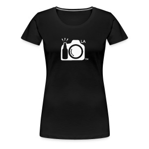 Women's Standard Weight Black T-Shirt White Large Los Angeles Logo - Women's Premium T-Shirt